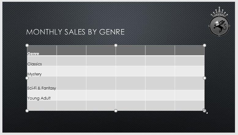 تغییر دادن اندازه یک جدول