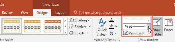 انتخاب گزینه ای style خطوط